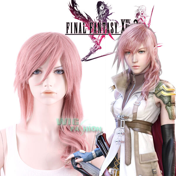 Final Fantasy XIII 13 Lightning Long Curly Pink Anime Cosplay Wig