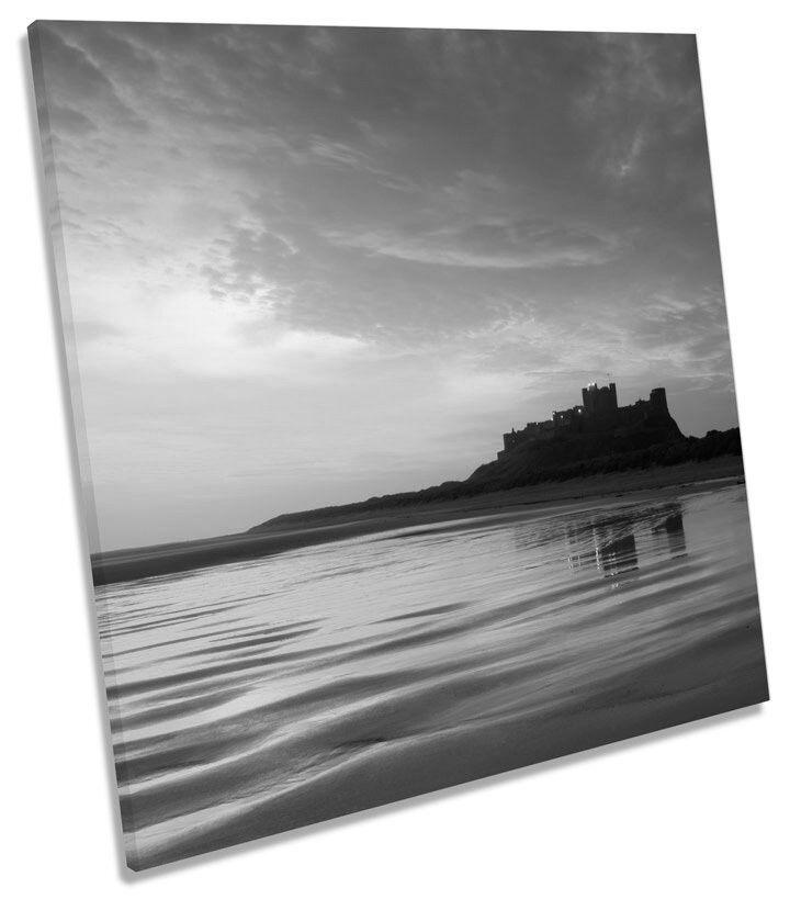 Bamburgh Castle Northumberland Sunset B&W SQUARE BOX FRAMED CANVAS Kunst Bild