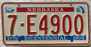 1976-Nebraska-Bicentennial-American-License-Licence-USA-Number-Plate-Tag-7-E4900
