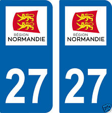2 STICKERS 27 style IMMATRICULATION AUTO Département 27 Région NORMANDIE