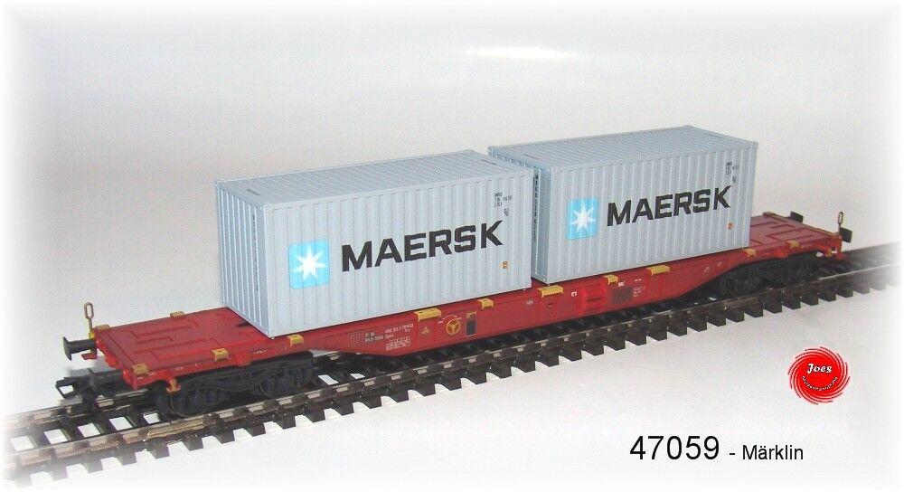 MÄRKLIN 47059 Container-Tragwagen Sgnss beladen mit Boxcontainer NEU in OVP