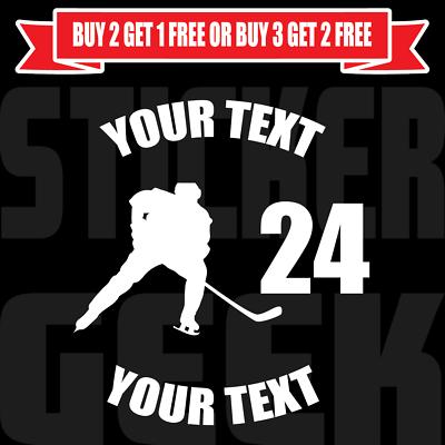 A Custom Vinyl Graphic Bumper Sticker Car Window Personalized Hockey Decal