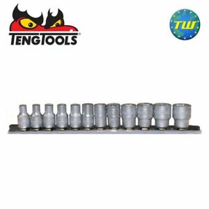 Teng-Tools-12pc-1-4in-Drive-6-Point-metrica-4-13mm-Socket-Set-Su-Ferroviario-Clip-m1412