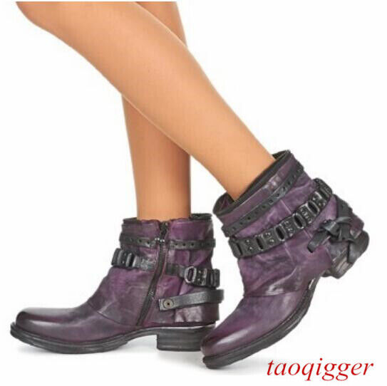 100% Real leather femmes Retro Ankle bottes Europe Zip Pull On Block Heels chaussures