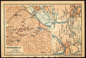 Details about Antique Map-MINNEAPOLIS-USA-Karl Baedeker-Wagner & Debes-1909