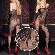 Black Floral Rose Lace Net Crotchless Bodystocking Bodysuit Pantyhose Lingerie