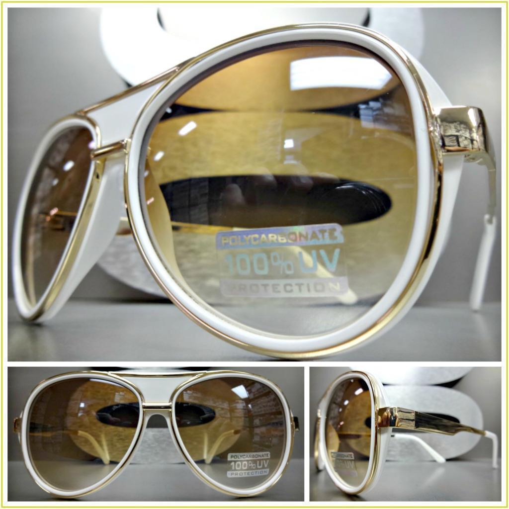 Klassisch Retro-Stil Party Rave Club Sonnenbrille Gold-Weiß Mode Rahmen    | Kunde zuerst  e0500f