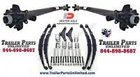 7k Tandem Trailer Axles Idler Set 62/47 5 Lug Hubs W/ All Hardware 5x5 Hubs