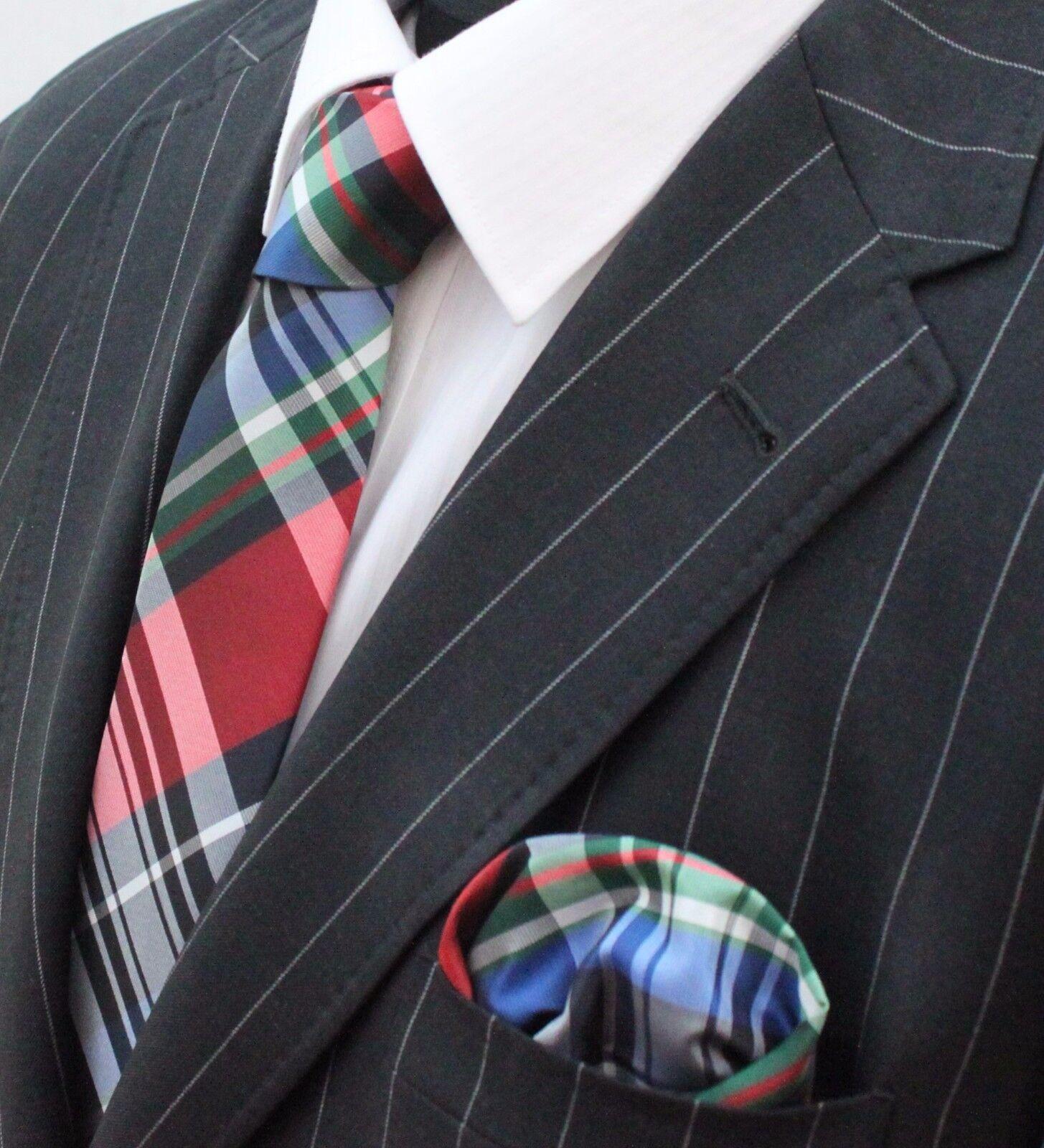 Tie Neck tie Red Black Blue White & Green GT07