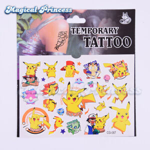 Pikachu-Pokemon-Kids-Temporary-Tattoo-Sticker-Party-Supplies-Lolly-Loot-Bag