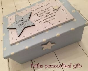 PERSONALISED BABY BOY//GIRL WOODEN CHRISTENING//BIRTH//BIRTHDAY KEEPSAKE//MEMORY BOX