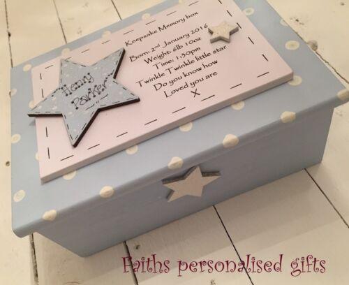 PRETTY PERSONALISED WOODEN CHRISTENING//BIRTH//BIRTHDAY BABY KEEPSAKE//MEMORY BOX