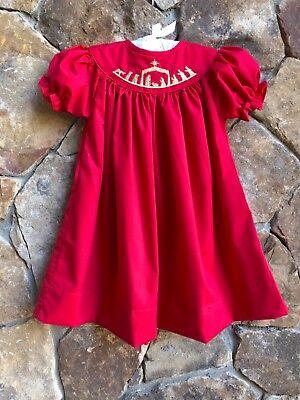 Blue Nativity Christmas Smocked Bishop Dress NEW girl boutique *