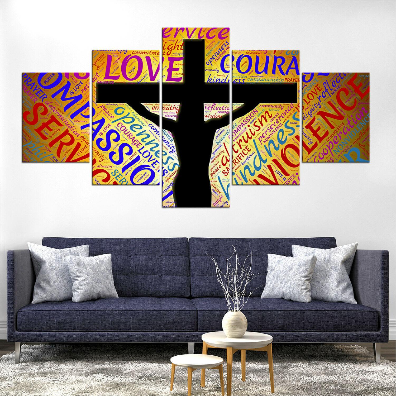 Jesus Cross Names Christian Framed Canvas Five Piece Wall Art 5 Panel Home Decor