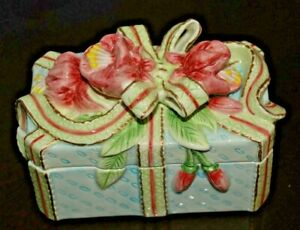 """Fitz and Floyd Beautifully Decorated Vintage Trinket Box 6 1/2"""" x 2 1/2"""""""