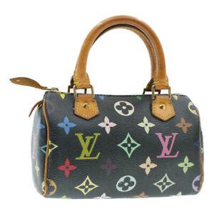 LOUIS-VUITTON-Multicolor-Mini-Speedy-Hand-Bag-Black-M92644-LV-Auth-br071