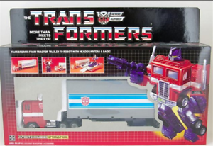 Hasbro, shape-shifting toy G1 re-engraved optimus prime with a new box
