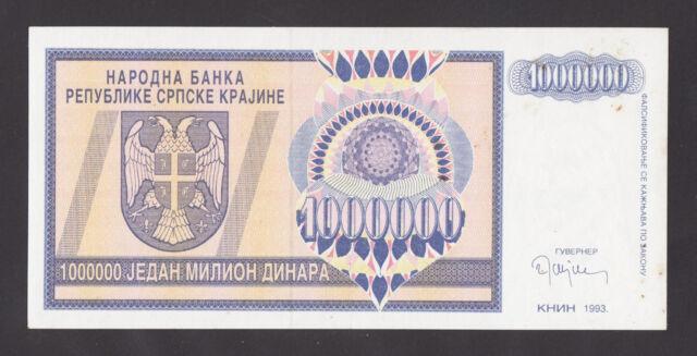 CROATIA  Krajina  1 Million Dinara 1993 UNC (slight stain) PR-10a  KEY BANKNOTE