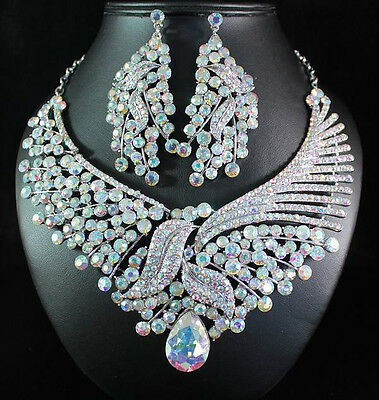 FLORAL AB AUSTRIAN RHINESTONE BIB STATEMENT NECKLACE EARRING SET BRIDAL N1668AB