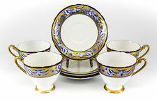 4pc Set Shelley Fine Bone China Cup & Saucers Hand Painted Gold & Blue Swallows
