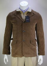 NWT New * KITON * $5320 Brown Corduroy Shearling Lined Blazer Coat Jacket~ 38/M