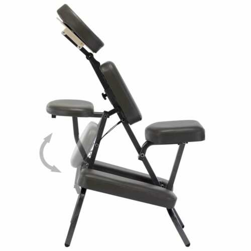 vidaXL Fauteuil de Massage Similicuir Anthracite Banc Lit Table Portable