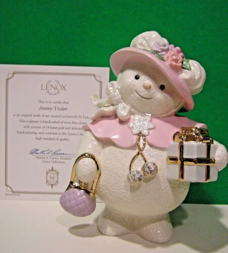 LENOX SNOWY VISITOR SNOWMAN sculpture NEW in BOX with COA