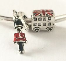 London Charm Set Bus & Beefeater Guard For Bracelets Silver Plated