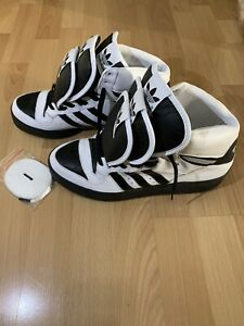 Details about Adidas Jeremy Scott Triple tongue Wings Black White Shoes men Size 10 sneakers
