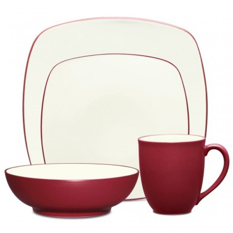 Noritake Couleurwave Raspberry Square 48Pc Dinnerware Set, Service for 12