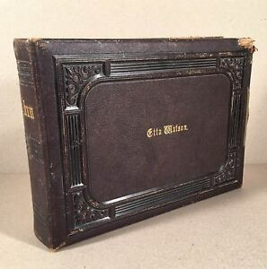 Victorian-1880s-CABINET-PHOTO-ALBUM-Empty-Holds-100-Cards