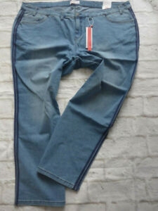 Sheego-Jeans-Trousers-Lana-Size-42-to-58-Blue-Blue-Stripes-on-Side-362