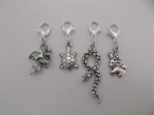 Clip On Dangle Charm For Bracelet//Pendant//Bag Dragon//Snake//Bunny Rabbit//Turtle