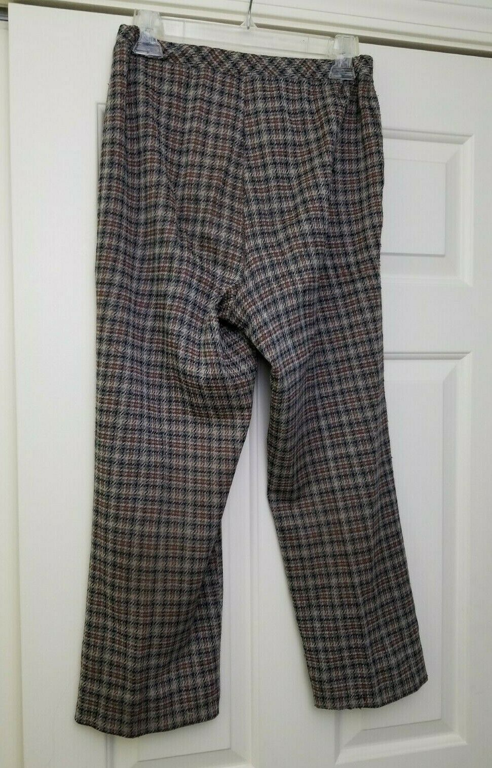 VTG 70s 80s Women's Houndstooth Plaid Pants Brown… - image 4