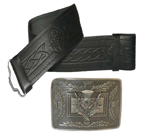 Real Leather Kilt Belt Celtic Embossed Scottish Thistle Buckle Chrome Antique