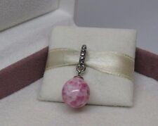 New w/BOX Pandora Pink Speckled Beauty Dangle Glass Bead Charm 791600 Egg