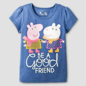 """PEPPA PIG"" Adorable GIRL'S BLUE SHORT SLEEVE SHIRT SIZE 2T NWT #F2"