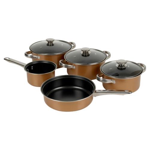 Regard De Cuivre 8pc Carbon Steel Cookware Set Casserole Couvercle Cuisson Poêle lait Pan