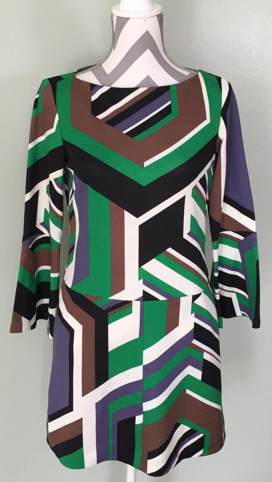 W By WORTH Womens Green Brown Purple Flare Sleeve Retro Midi Dress Size 4 EUC