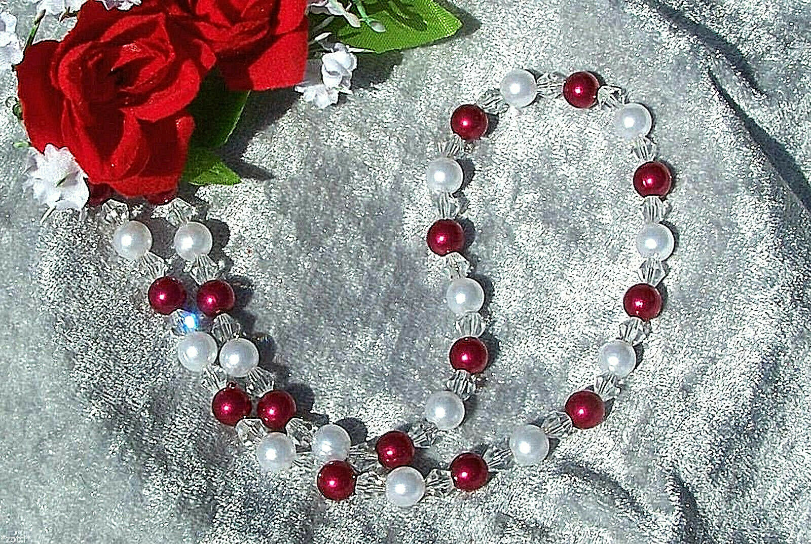 Pearl Necklace Red White Metallic Beads Glass Clear Bicone Wedding Evening Dress