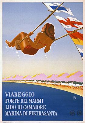 TX71 Vintage Italy Italian Viareggio Forte dei Marmi Travel Poster Re-Print A4