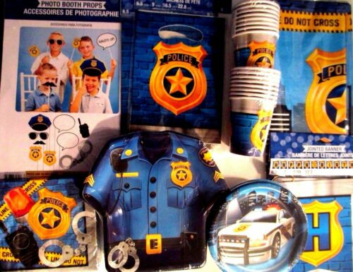 POLICE OFFICER PARTY Birthday Party Supply SUPER Kit w//Photo Props /& More!