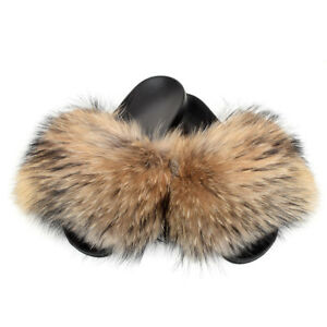 325a2c7ad735 Image is loading Genuine-Raccoon-Fur-Slides-Slippers-With-Natural-Fur-