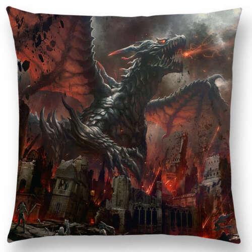 Dragon destruction féroce bataille Puissant Guerrier guerre FEU ciel cas Housse de coussin