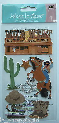 WILD WEST Jolee's Boutique Dimensional Stickers WESTERN Cowboy Sheriff Boots Hat