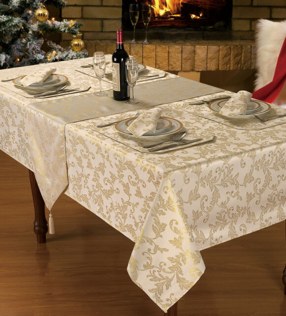 Sparkle HEATHER Christmas Tablecloth Collection Napkins Runner Placemat  Cream 70 Inch Round | EBay
