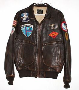 Avirex Vintage USN Issue Style G2 Brown Leather Bomber Coat Flight ...