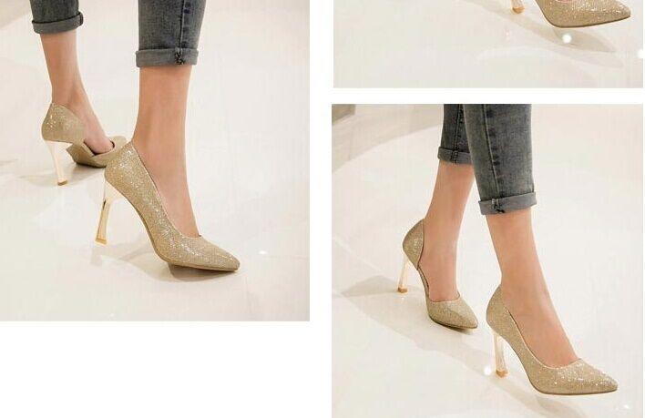 zapatos Zapatos de salón mujer color oro tacón de aguja 9 cm código 8241