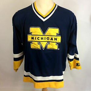 Image is loading Vtg-90s-University-of-Michigan-College-Starter-Hockey- 1bcc72a258d