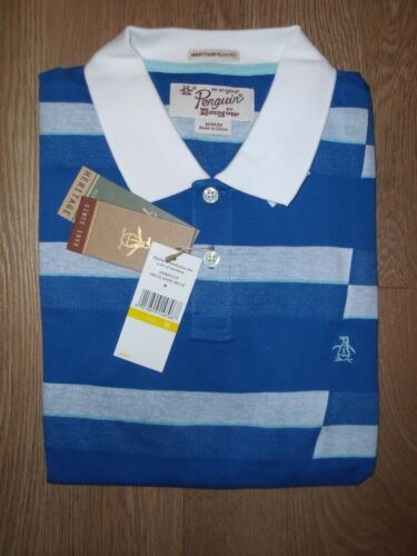 Original Penguin Asymmetric Geo Stripe Classic Blue Polo Shirt Cotton Slim M New